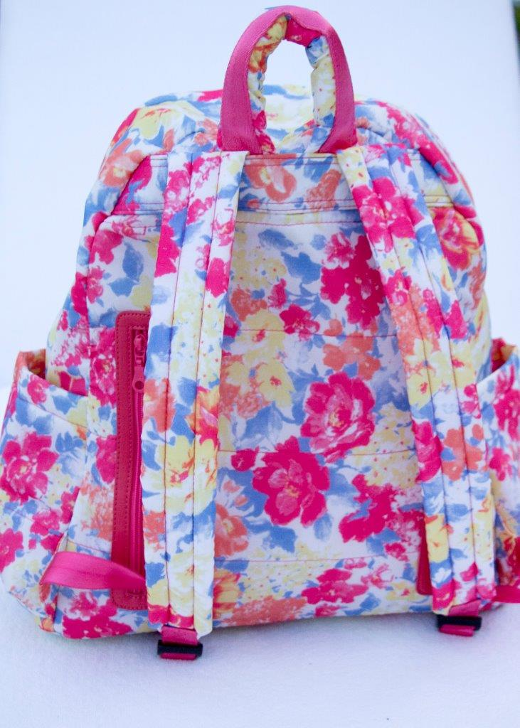 Back of the Big  Zipper Backpack - Note the secret zip compartment and plush straps.